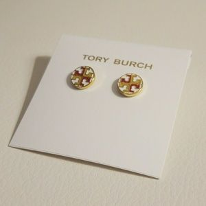 Tory Burch circle logo earrings